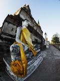 Ayutthaya Wat Yai Chai Mongkol Row of Buddha Statues