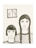 Portrait of Two Girls  Black and White Drawing