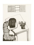 Black and White Drawing of Woman Sitting at Table  Head in Her Arms