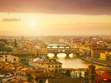 Sunset View of Bridge Ponte Vecchio Florence  Italy