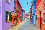 Colorful Houses on Burano Island  near Venice  Italy Charming Street Sunny Day