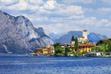 Beautiful Lago Di Garda  North of Italy View with Castle in Malcesine
