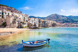 Beautiful Old Harbor with Wooden Fishing Boat in Cefalu  Sicily  Italy