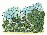 Illustration of Green Plants with Net