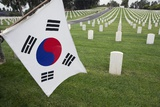 South Korean Flag Hanging at 2014 Memorial Day Event  Los Angeles National Cemetery  California  US