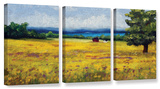 Lake Side Mustard Field  3 Piece Gallery-Wrapped Canvas Set