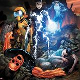 Avengers Academy No18 Cover: Striker  Mettle  Finesse  Hazmat  Veil  Warlock  and Reptil