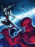 The Mighty Avengers No16 Cover: Daredevil and Elektra