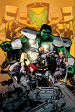 Secret Avengers 7 Cover: Nick Fury  Black Widow  Hawkeye  Mockingbird  Hulk  AIM