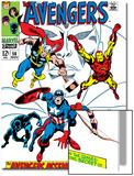 Giant-Size Avengers No.1 Cover: Thor, Iron Man, Captain America and Black Panther Acrylique par John Buscema