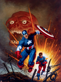 Captain America No8 Cover: Captain America  Bucky and Red Skull Swimming