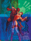 Elektra No35 Cover: Daredevil and Elektra Fighting and Shooting