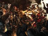 Daredevil No100 Cover: Daredevil  Elektra  Luke Cage  Iron Fist and Spider-Man