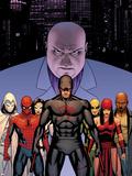 Shadowland No2 Cover: Daredevil  Spider-Man  Elektra  Iron Fist  White Tiger  Moon Knight  Kingpin