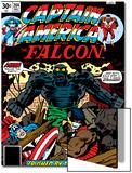 Captain America And The Falcon No204 Cover: Captain America  Falcon and Agron Fighting