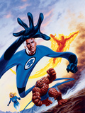 Marvel Double-Shot No3 Cover: Mr Fantastic  Invisible Woman  Human Torch and Thing Swimming