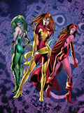 Fantastic Force No2 Cover: Phoenix  Scarlet Witch and Polaris