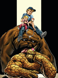 The Thing No4 Cover: Thing  Richards  Franklin  Richards  Valeria and Lockjaw
