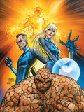 Fantastic Four No553 Cover: Thing  Mr Fantastic  Invisible Woman and Human Torch Crouching