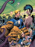 Fantastic Four No573 Cover: Thing  Human Torch  Richards  Franklin  Richards and Valeria