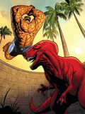 Marvel Adventures Fantastic Four No41 Cover: Thing and Devil Dinosaur