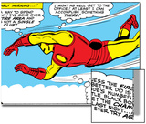 Marvel Comics Retro: The Invincible Iron Man Comic Panel  Flying