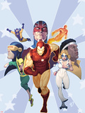 Iron Age: Omega No1 Cover: Iron Man  Iron Fist  Dazzler  Cyclops  Captain Britain and Others