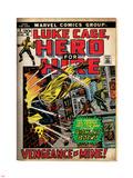Marvel Comics Retro: Luke Cage  Hero for Hire Comic Book Cover No2  Smashing Wall (aged)