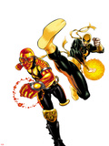 Power Man and Iron First No1 Cover: Iron Fist and Power Man Running and Kicking