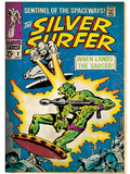 Marvel Comics Retro: Silver Surfer Comic Book Cover No2  Fighting  When Lands the Saucer! (aged)