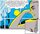 Marvel Comics Retro: Love Comic Panel  Alone at Window under Moonlight