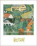 Houses at Unterach Reproduction d'art par Gustav Klimt