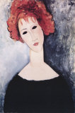 Red Head art print  By Amedeo Modigliani