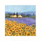 Lavende et tournesols, Provence Reproduction d'art par Hazel Barker