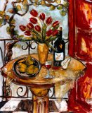 Still Life Wtih Blooming Red Tulips