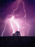 Lightning Behind a Farmhouse