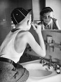 Boy Shaving at Mirror
