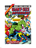 Giant-Size Defenders No4 Cover: Hulk  Dr Strange  Hyperion  Dr Spectrum and Nighthawk Fighting