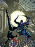 Marvel Adventures Super Heroes No17 Cover: Black Widow and Hawkeye Jumping