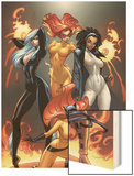 Marvel Divas No1 Cover: Hellcat  Black Cat  Captain Marvel and Firestar