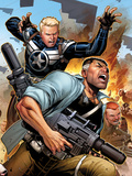 Secret Warriors No19 Cover: Steve Rogers and Nick Fury Fighting and Running