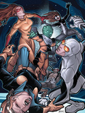 Young Allies No5 Cover: Nomad  Gravity  Firestar  and Spider-Girl Fighting