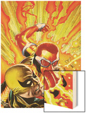 Shadowland: Power-Man No4 Cover: Power Man and Iron Fist Fighting