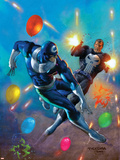 Punisher Vs Bullseye No4 Cover: Punisher and Bullseye Smashing