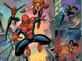 Spider-Man Family No1 Cover: Spider-Girl  Spider-Man  Arana and Spider Woman Fighting