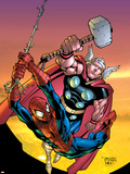 Marvel Age Spider-Man Team Up No4 Cover: Spider-Man and Thor