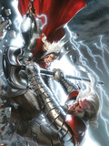The Mighty Thor No12 Cover: Thor and Tanarus Fighting