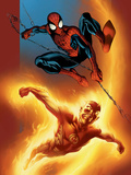 Ultimate Spider-Man No69 Cover: Spider-Man and Human Torch