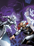 The Mighty Thor No4 Cover: Silver Surfer and Thor Fighting