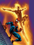 Ultimate Spider-Man No68 Cover: Spider-Man and Human Torch
